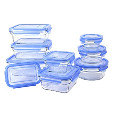 Glasslock 18 Piece Oven Safe Assortment Set, Blue