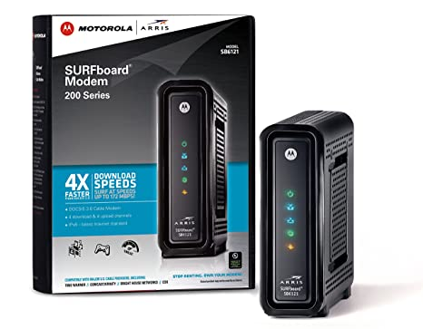 ARRIS SURFboard SB6121 4x4 DOCSIS 3 0 Cable Modem -Retail Packaging-Black