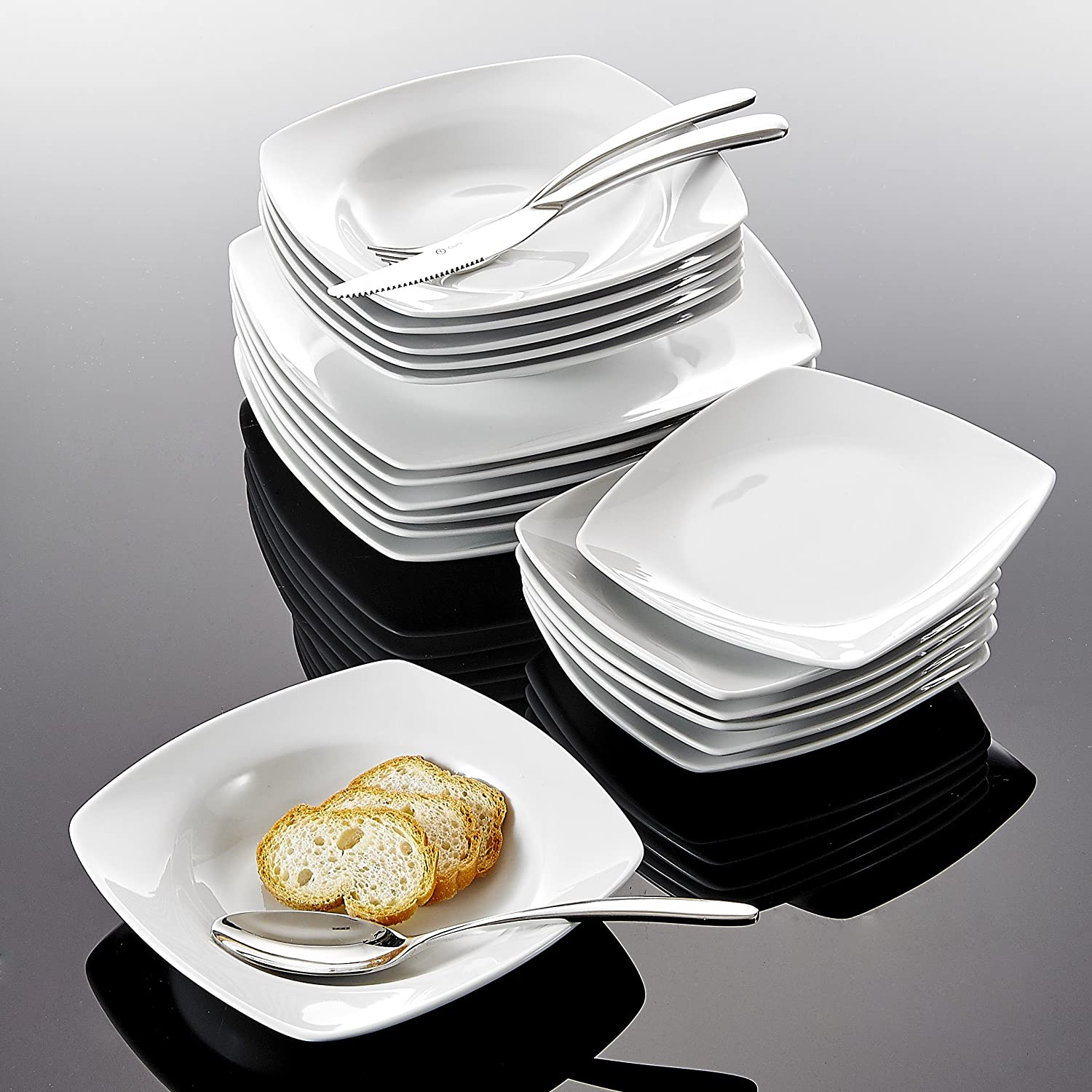 Stackable Square Serving Tray Concave Square Plates Set of 6 Malacasa 6.5-inch Porcelain Serving Platter White