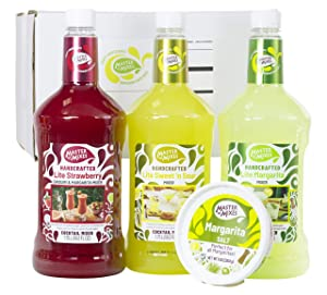 Master of Mixes Margarita / Daiquiri Lite Drink Mixes Variety, Ready to Use, 1.75 Liter Bottles (59.2 Fl Oz), Pack of 3 Flavors + Margarita Salt