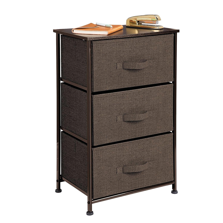 mDesign Comodino in stoffa – Organizer pratico con 3 cassetti – Cassettiera ideale per la camera da letto, l'appartamento o per stanze piccole – marrone scuro MetroDecor