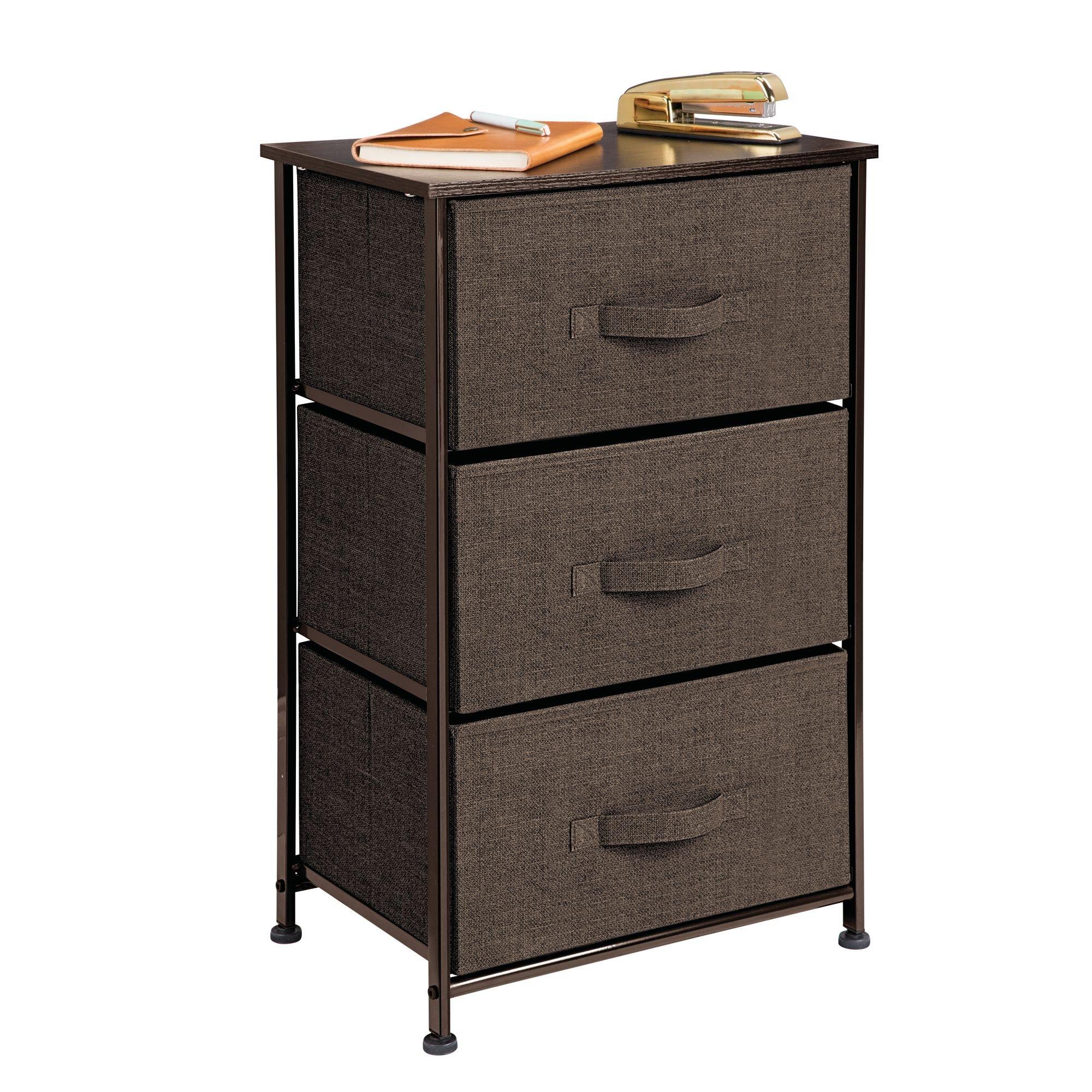 mDesign Vertical Dresser Storage Tower - Sturdy Steel Frame, Wood Top, Easy Pull Fabric Bins - Organizer Unit for Bedroom, Hallway, Entryway, Closets - Textured Print - 3 Drawers, Espresso