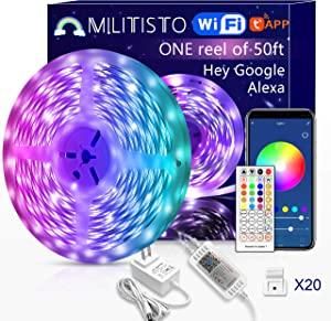 Militisto LED Light Strips 50ft (1-Pack) - Alexa Smart LED Strip Lights Compatible with Echo,Google Home - Music LED Lights for Bedroom,Aesthetic Room Decor,Smart Home, Home Decorations, Dorm Decor