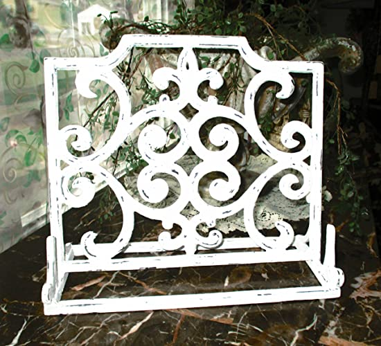 Recipe Book Holder, Picture Frame Holder, Shabby White, Distressed, Cast  Iron,