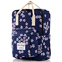 BESTIE Girls Floral Backpack, Medium Size, 37x27x14cm, 16 Liters, Navy