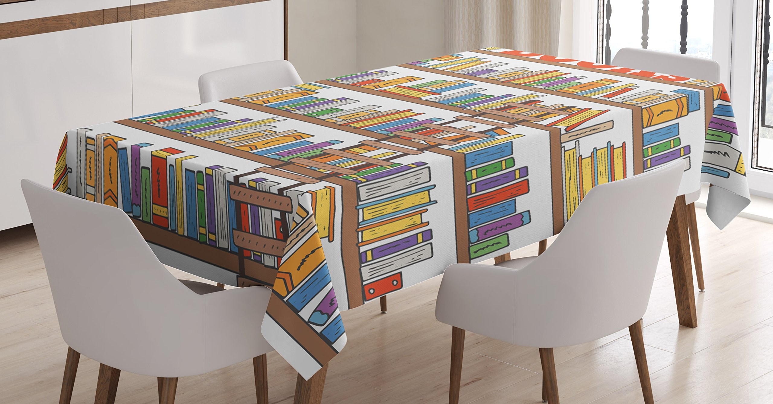 Modern Tablecloth by Ambesonne, Library Bookshelf with A Ladder School Education Campus Life Caricature Illustration, Dining Room Kitchen Rectangular Table Cover, 60 W X 84 L Inches, Multicolor