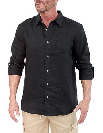 Short Fin Men's Long Sleeve Linen Shirt at Amazon Men's Clothing ...