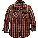 Harley-Davidson Men's Oak Leaf Plaid Slim Fit Shirt, Orange/Black