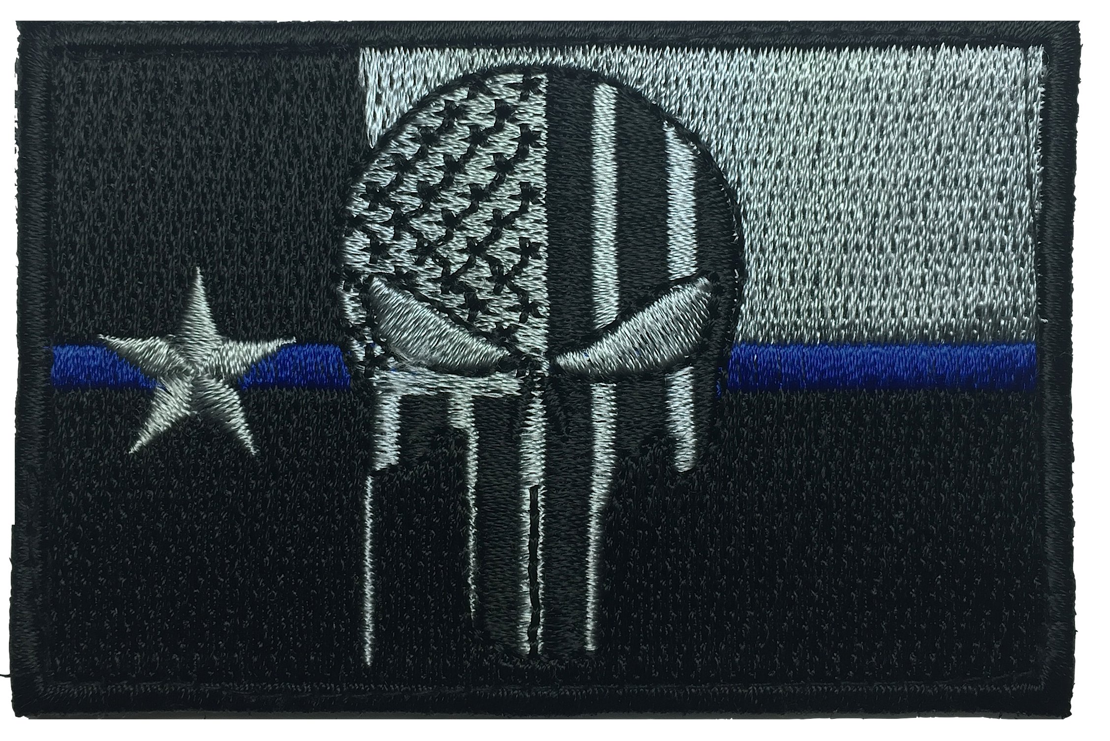a84ae207b46e26 Patch Squad Men's Texas Flag Punisher Flag Patches (Black/Silver Blue Line)