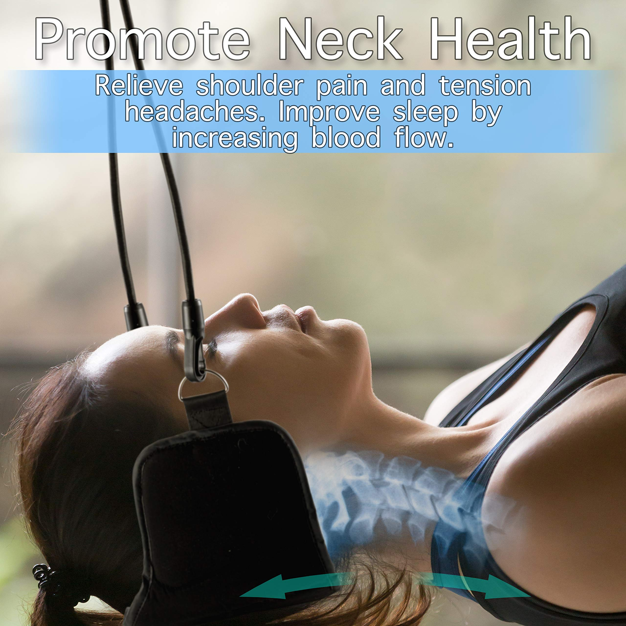 Hammock for Neck Pain Relief Bundle Set – Includes Neck Traction Device + Resistance Band + Stretching & Mobility Digital Download | Cervical Neck Relief Hammock | Portable Head & Neck Sling Stretcher by Tephran (Image #3)