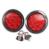 2 luces LED redondas 4 pulgadas rojas, funcionan como parada, vuelta y luz trasera, incluye luz con su arandela y cable para conexión