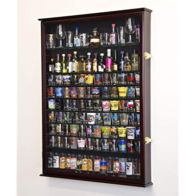 XL Shot Glass Display Case Rack Holder Cabinet for Tall Shooter and Mini Liquor Bottle -Cherry: Sports & Outdoors
