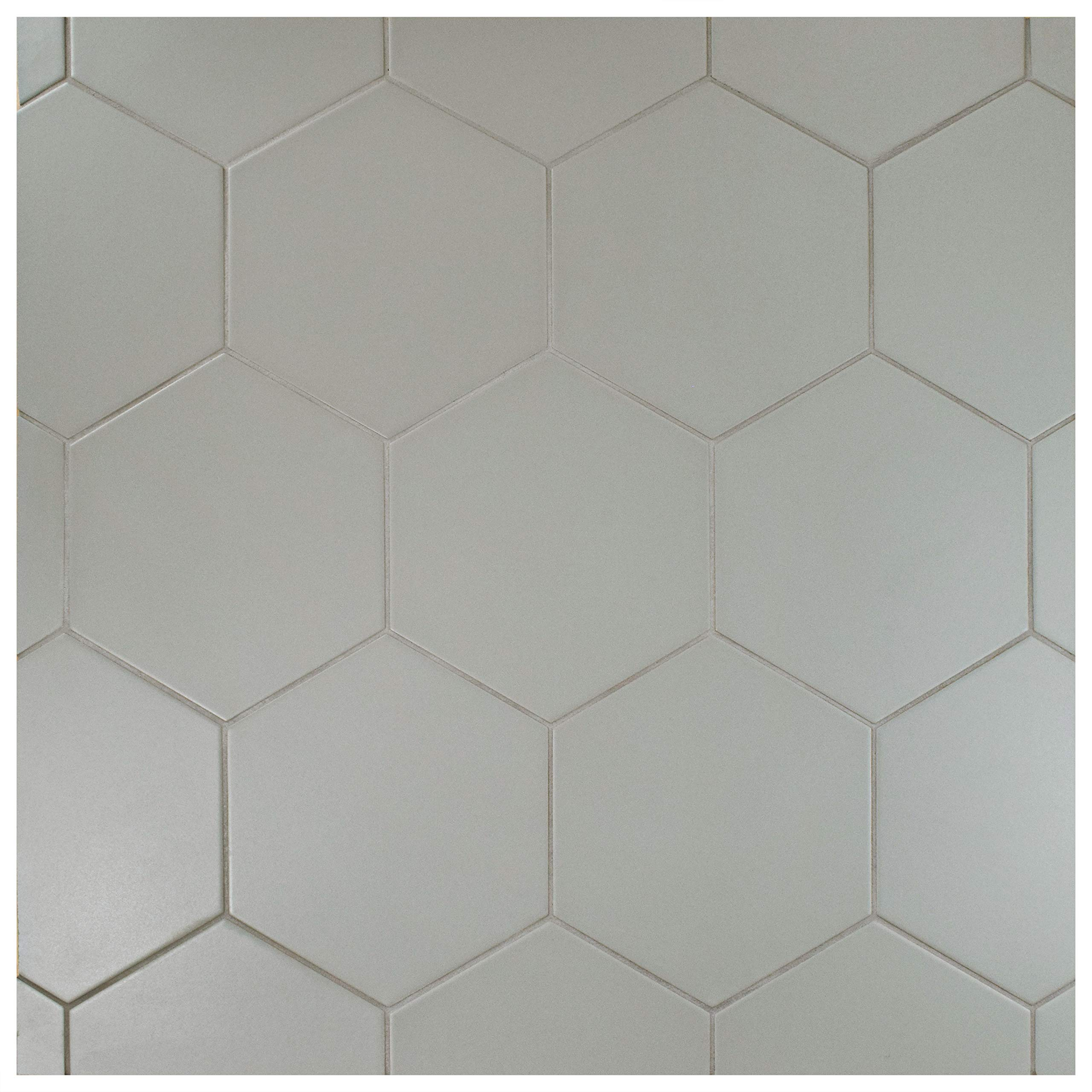 SomerTile FCD10STX Abrique Hex Porcelain Floor and Wall, 8.63'' x 9.88'', Silver Tile 8.625'' x 9.875'' 25 Piece by SOMERTILE (Image #12)