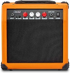 LyxPro Electric Guitar Amp 20 Watt Amplifier Built In Speaker Headphone Jack And Aux Input Includes Gain Bass Treble Volume And Grind - Sunburst