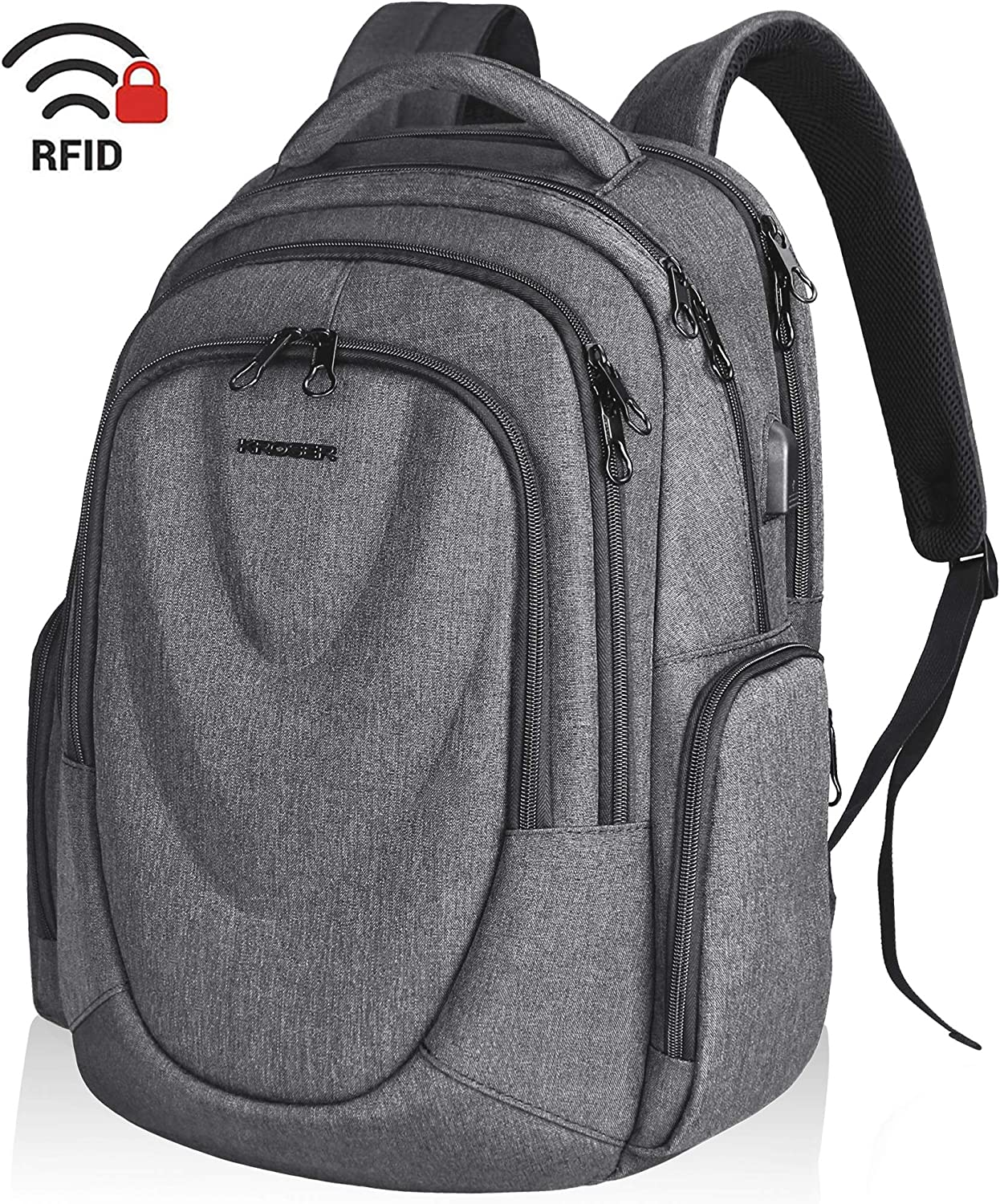 KROSER Travel Laptop Backpack 17.3 Inch Molded Front Panel Large Computer Daypack Water-Repellent with RFID Pockets USB Charging Port for Work Business College Men Women-Grey