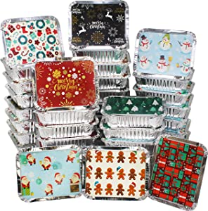 40 Pieces Christmas Foil Containers with Lid, 8 Holiday Designs, 7