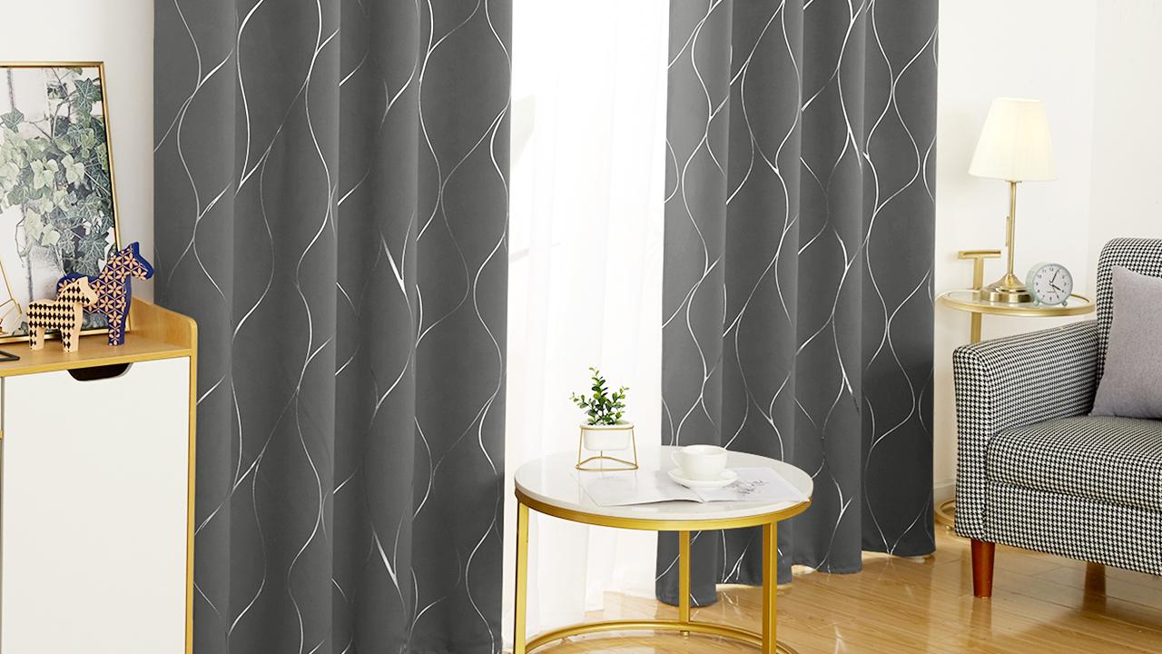 Deconovo Silver Wave Foil Print Blackout Curtains Grommet Light Blocking Curtain Room Darkening Noise Reducing Window… 7