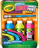 Crayola; Washable Neon Sidewalk Paint; Outdoor Art Tools; 3 Neon Paint Colors, Paint Brush, Roller and 3 Sidewalk Chalk Sticks