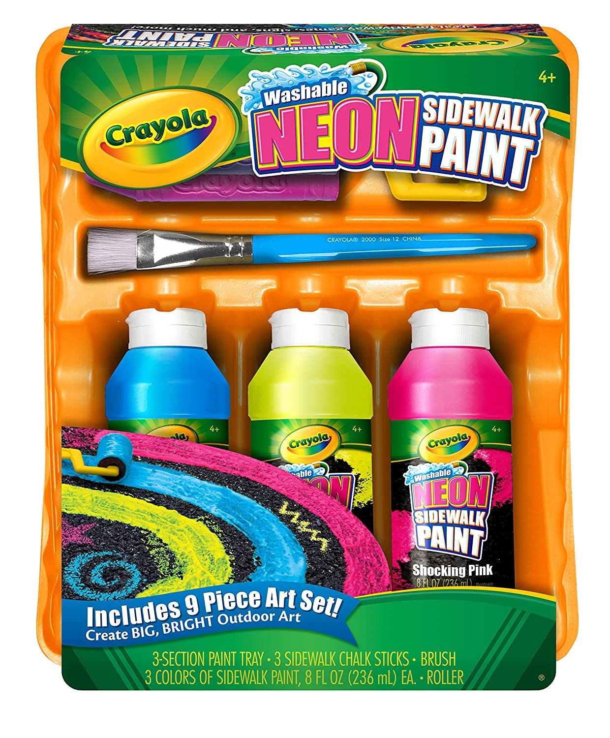 amazoncom crayola washable neon sidewalk paint outdoor art tools 3 neon paint colors paint brush roller and 3 sidewalk chalk sticks toys games