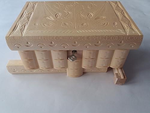 Caja puzzle nuevo grande natural caja de joyas talladas caja mágica misterio caja de madera rompecabezas caja secreta trinket complicado cajón de madera caja escondida: Amazon.es: Handmade