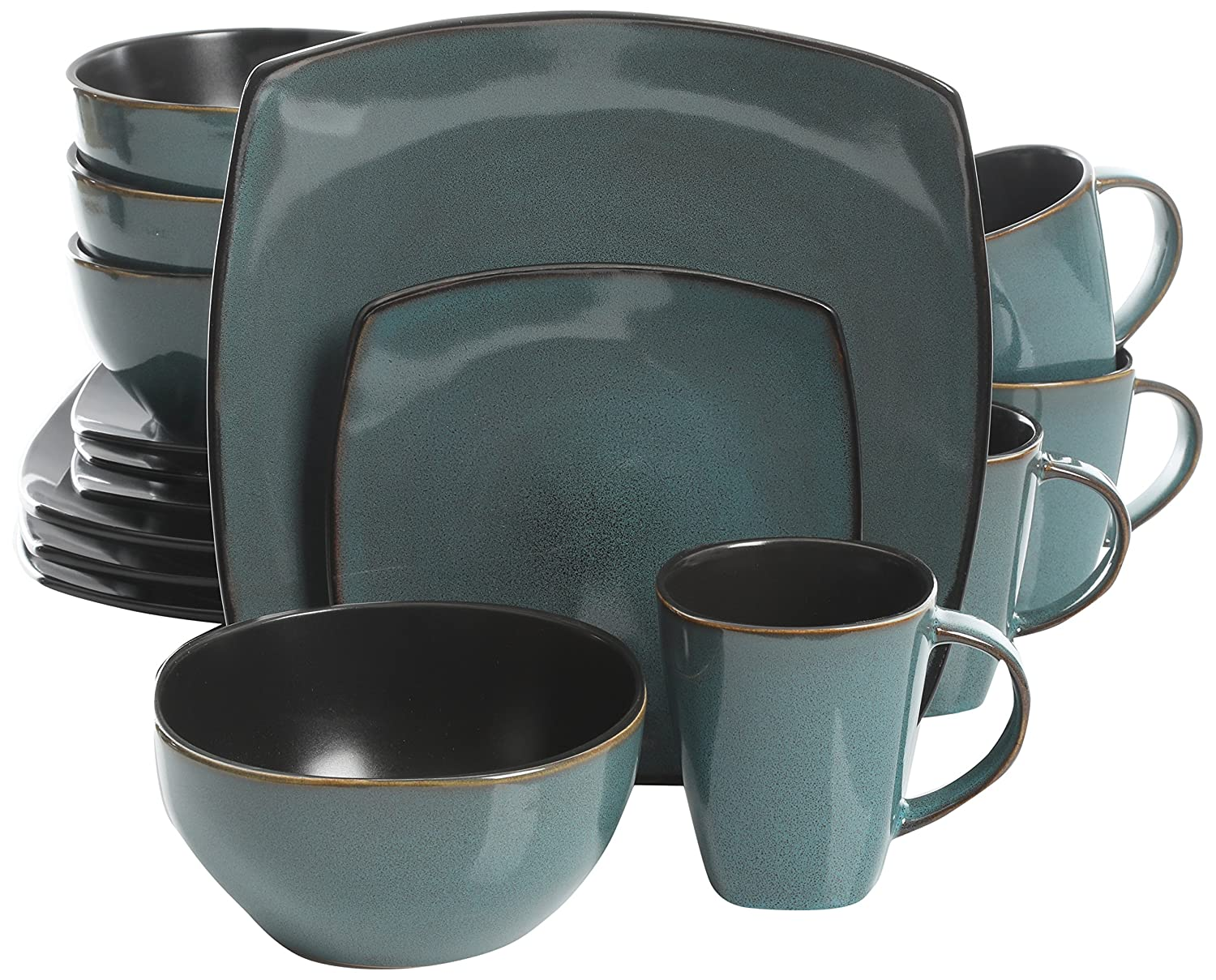 Gibson Elite 102534.16RM Soho Lounge 16 Piece Reactive Glaze Dinnerware Set, Soft Square, Teal Green