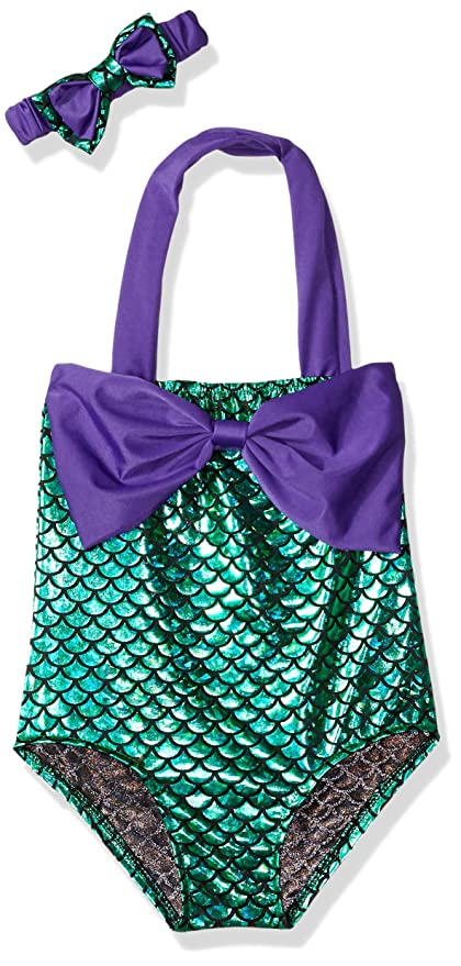 bcc1fecda87f9 Amazon.com: Little Girls swimsuits for girl one piece Mermaid Princess  Toddler Bikini Swim Bathing Suit+headband: Sports & Outdoors