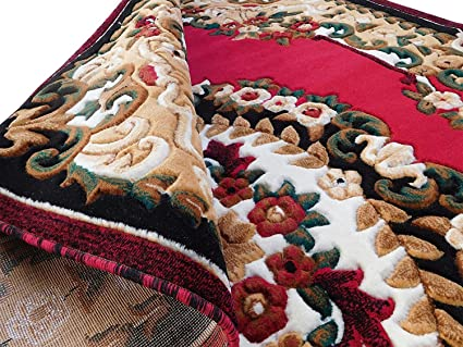 Ali Carpet Embossed 0.5 Inch Pile Height Persian Floral Carpet For Living Room & Bed Room & Hall 6 X 8 Feet Color Red