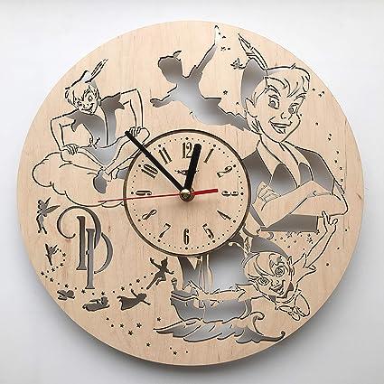 Peter Pan Wall Art.Amazon Com Peter Pan Wall Clock Made Of Wood Wood Home