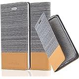 Cadorabo - Custodia Book Style per Huawei P8 Design Tessuto - Similpelle con Chiusura Magnetica Invisible, Supporto Funzione e Vani di Carte - Etui Case Cover Involucro Bumper in GRIGIO-CHIARO-MARRONE