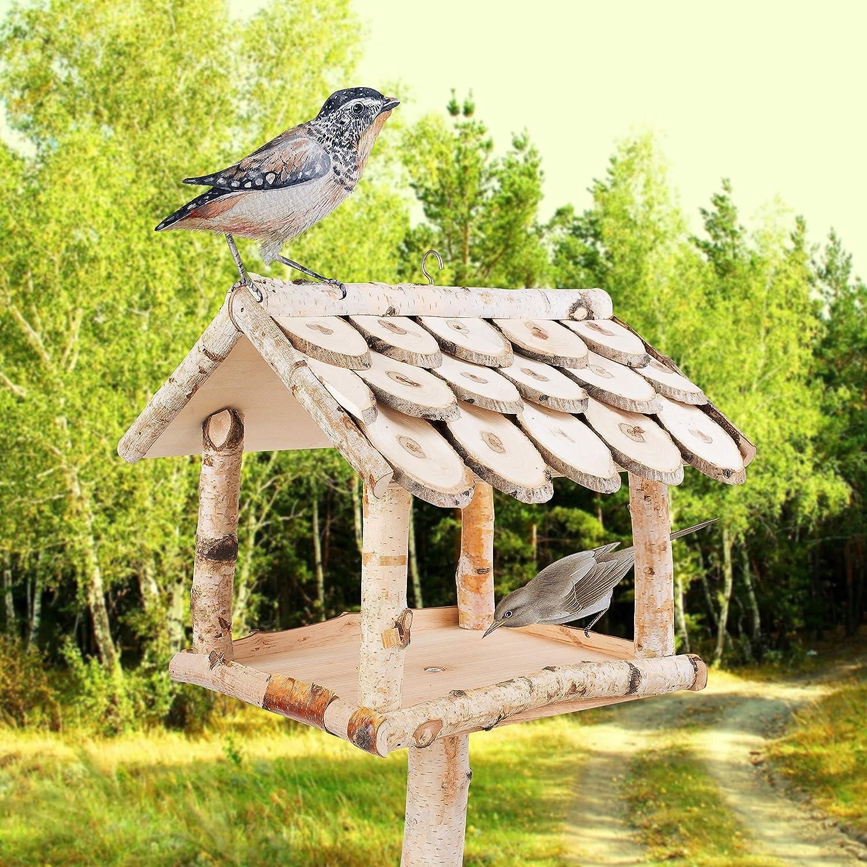 132 cm Gro/ß Wetterfest//Vogelh/äuschen mit Schindel Dach//Vogel Futterstation Futterspender Vogelfutterhaus YourCasa Vogelhaus mit St/änder Birke Natur Holz//Futterhaus f/ür V/ögel mit St/änder