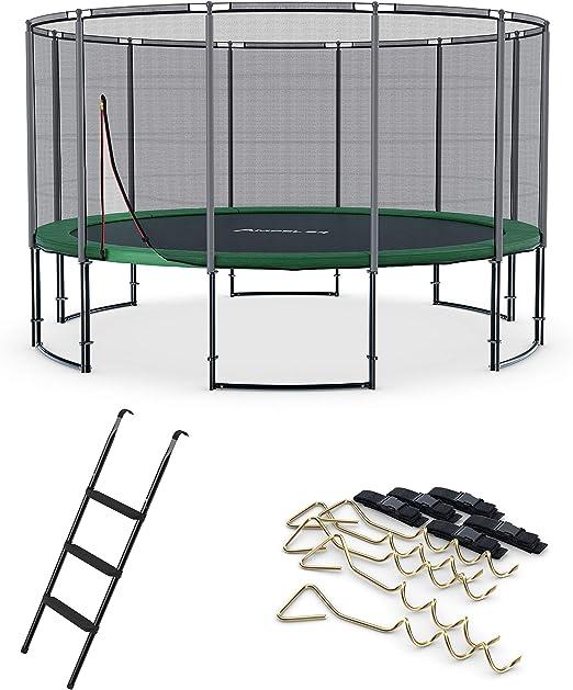 Ampel 24, Cama elástica Deluxe Completo con Escalera y Sistema de Anclaje | diametro di 4,90m | Resistente hasta 120 kg | 12 Barras: Amazon.es: Jardín