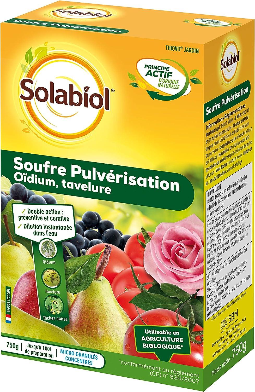 SOLABIOL SOPUL750 Súffre pulverización 750 g hasta 100 L de solución, doble acción: preventiva y curativa.