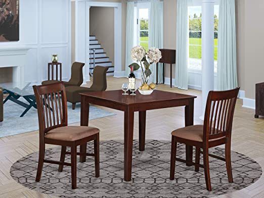 OXNO3-MAH-C 3 Pc small Kitchen Table set -square Table and 2 Kitchen Dining  Chairs