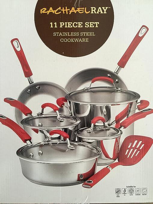 Rachael Ray 11 piezas Batería de cocina, acero inoxidable con asas de color rojo