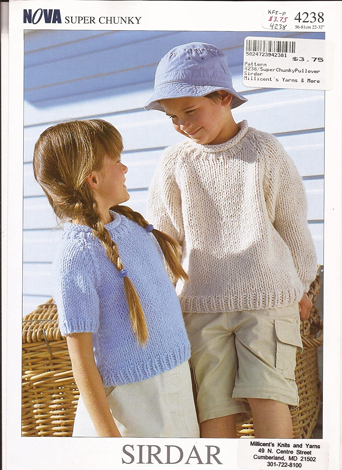 Sirdar Knitting Pattern 4238 - Nova Super Chunky Sweaters for Children 1 - 12 yrs