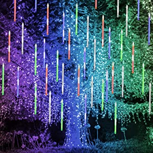 Blissun Falling Rain Lights, Meteor Shower Rain Drop Lights, 30cm 8 Tubes 288 LED Icicle Cascading Snow Falling Lights for Christmas Halloween Garden Trees Wedding Party Decorations (Multicolor)