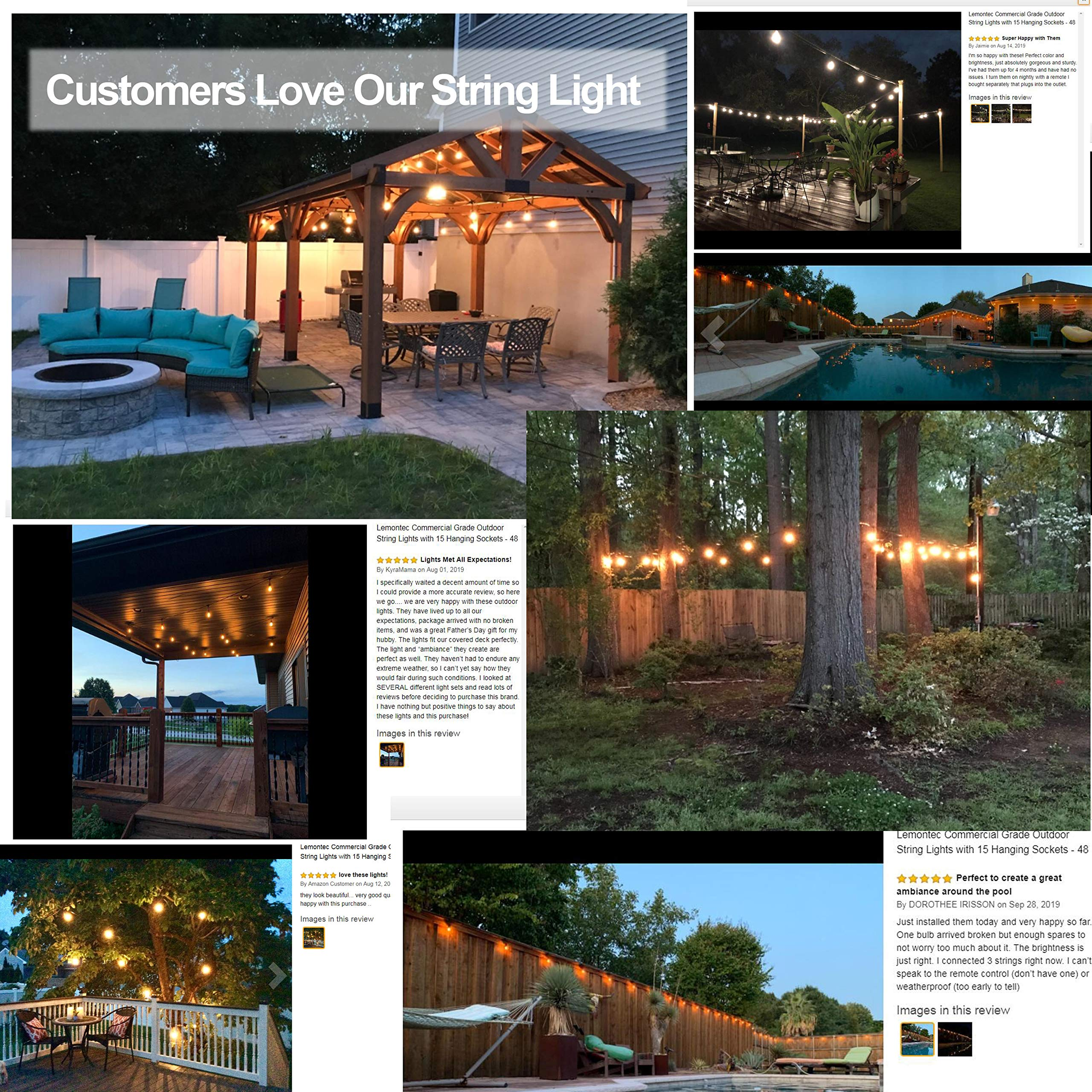 Lemontec Commercial Grade Outdoor String Lights with 15 Hanging Sockets 48 Ft