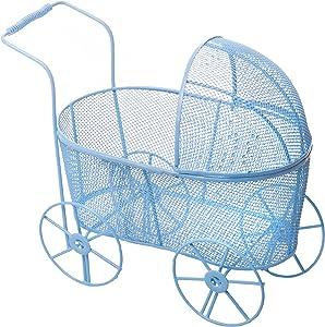 Adorable Baby Shower Centerpiece, Decorative Stroller Carriage Basket, Blue, 8-inch