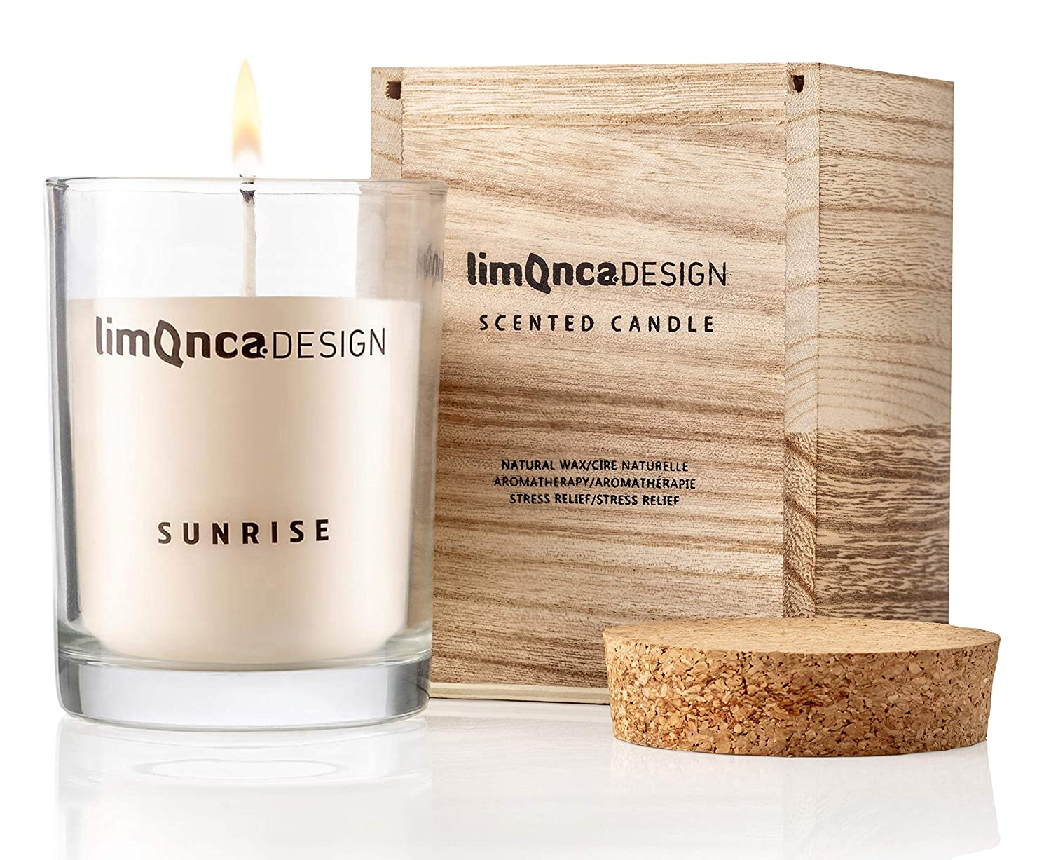Roseblossom l Long Lasting- 70 Hours Limonca DESIGN Scented Candle Natural Scented Apple Natural Soy Wax Cork Lid Handmade Lemongrass Premium Aromatherapy | Wodden Box Gift Set