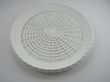 Paper Plate Holder White Plastic Wicker for 9u0026quot; Plates Pack of 12 Reusable & Amazon.com: Paper Plate Holder White Plastic Wicker for 9