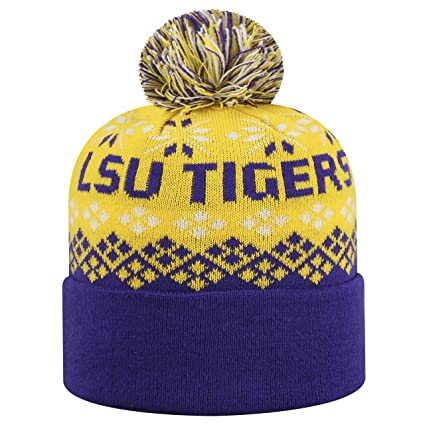sports shoes c7565 2c631 Image Unavailable. Image not available for. Color  Top of the World LSU  Tigers Official NCAA Cuffed Knit Advisory Stocking Stretch Sock Hat Cap