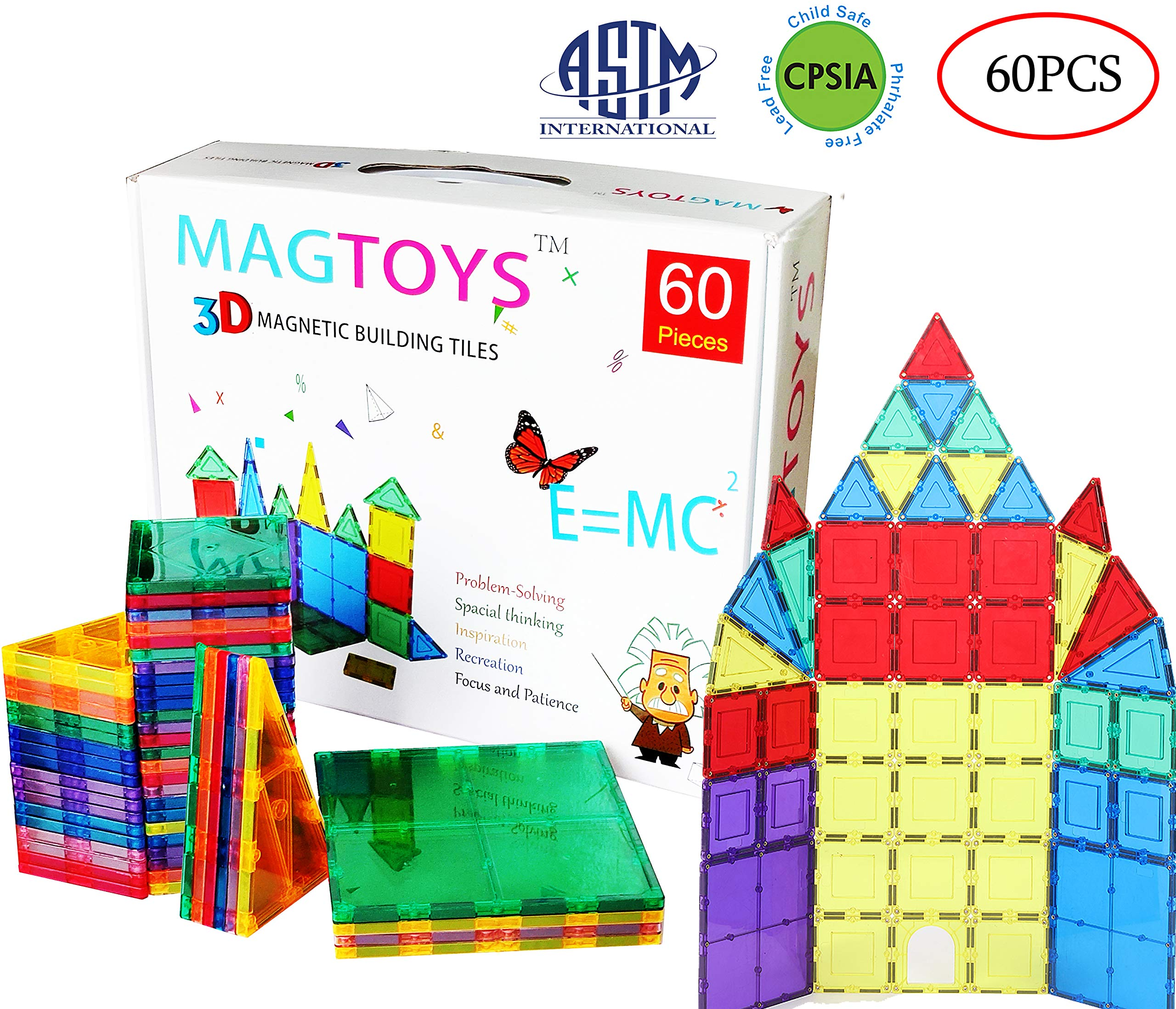 DreambuilderToy 60 Pieces Magnetic Tiles Clear 3D Building Blocks with 4 Large Playboards, STEM Magnetic Tiles Set by DreambuilderToy