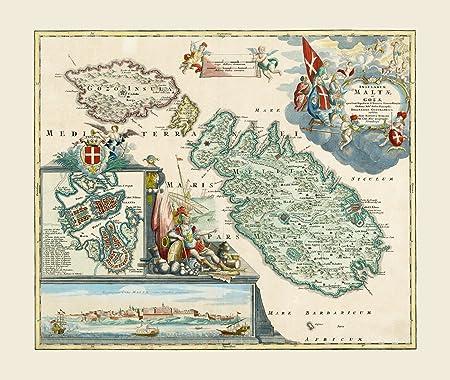 Cartina Di Malta Da Stampare.Ofa Riproduzione Mappa Antica Di Malta E Goza Johann Baptiste Homann Dimensioni 39 X 33 Cms Amazon It Casa E Cucina