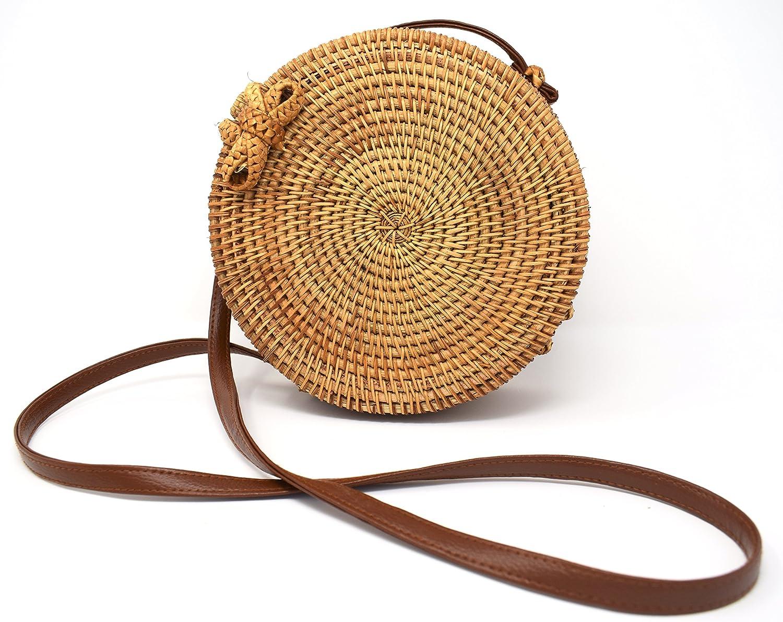 Round Handwoven Rattan Bag Vegan Leather Strap Bow Clasp  Handbags   Amazon.com c193c7ee58f62