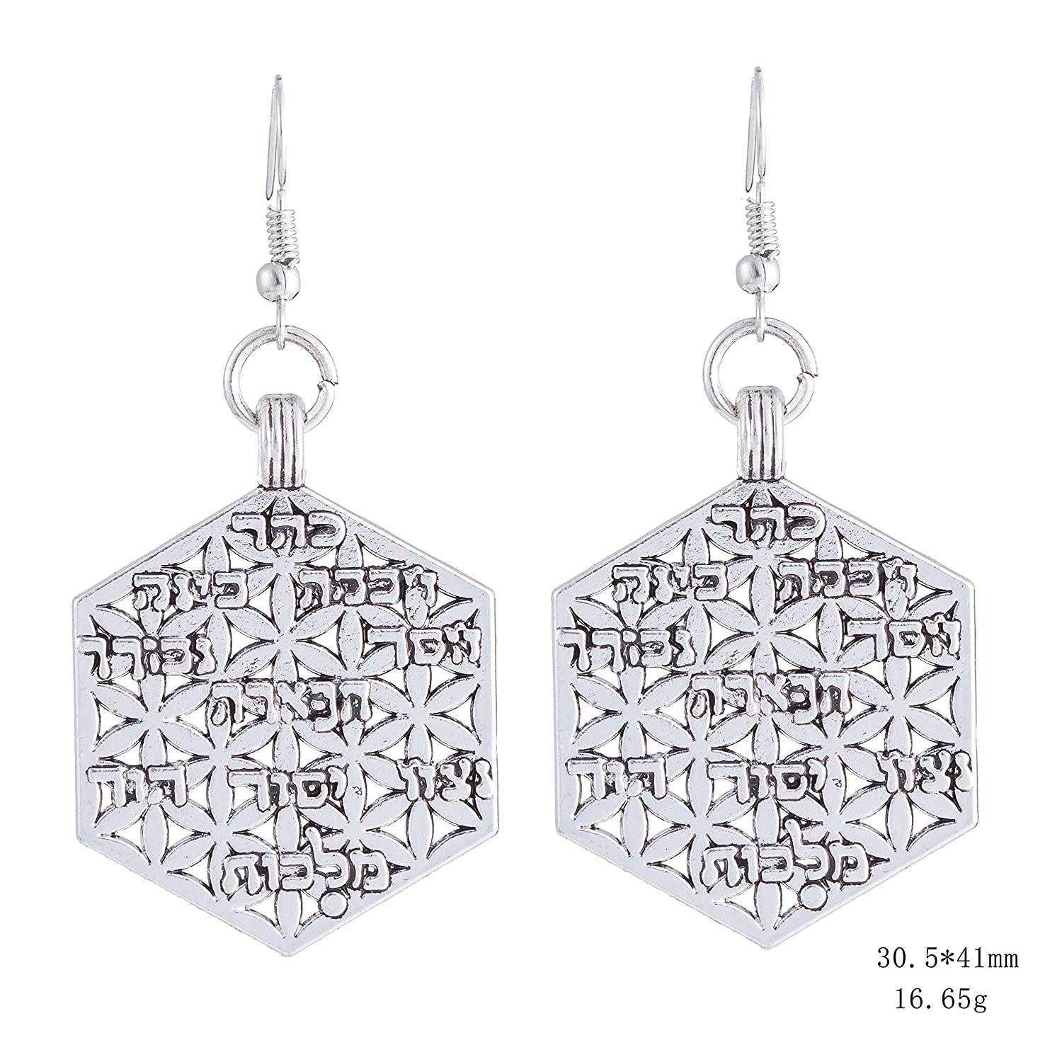 fishhook Hexagon Earrings Vintage Earrings for Women Wicca Religious Flower of Life Hebrew Alphabet Rectangle Pendant Dangle Drop Earrings for Women Girls Mom Sister Best Friend