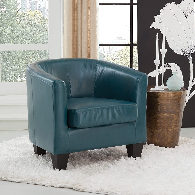 Grafton Joseph Faux Leather Barrel Chair, One Size, Peacock