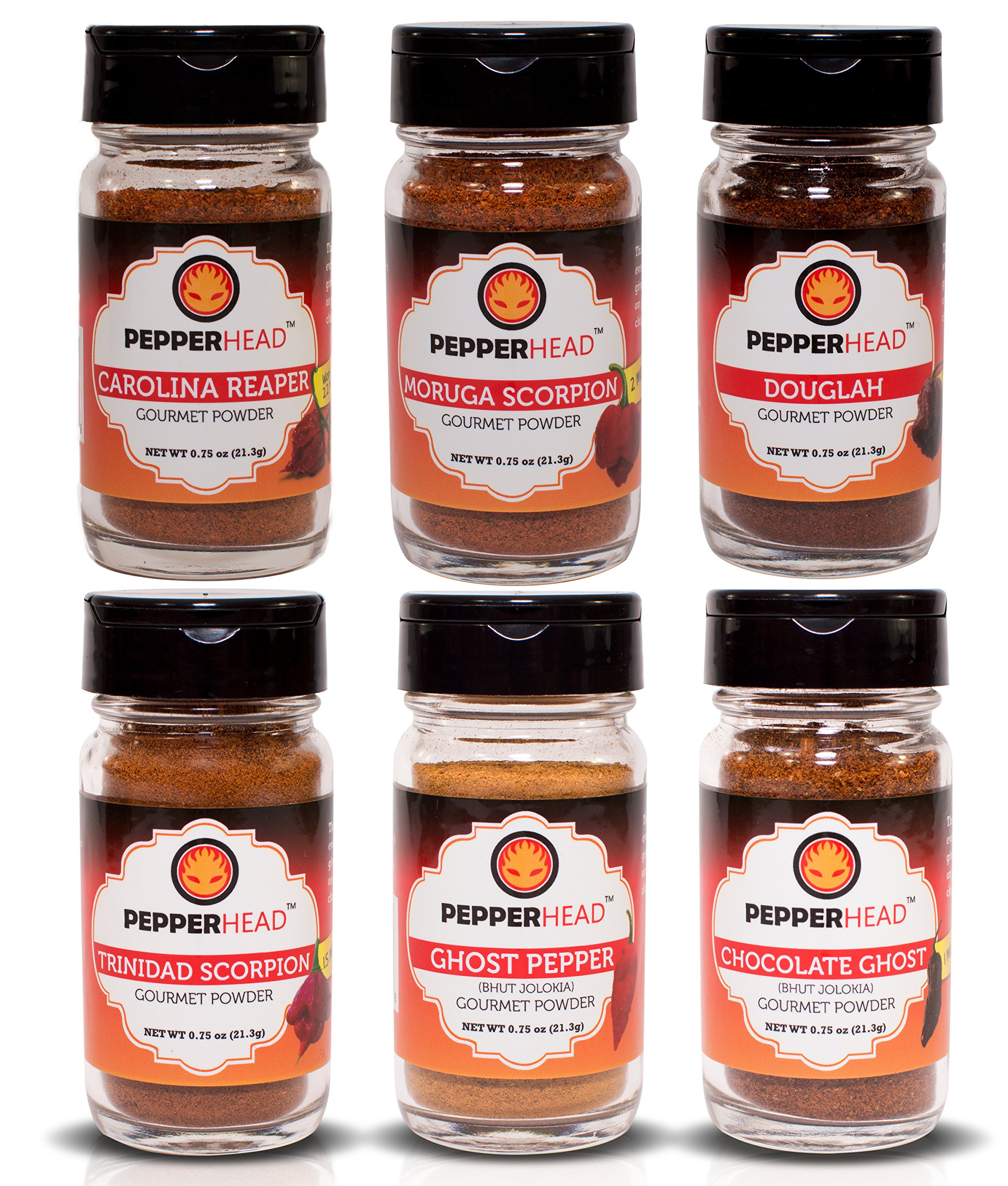 6 Hottest Gourmet Powders Combo Pack - PepperHead - Carolina Reaper, Moruga Scorpion, Douglah, Trinidad Scorpion, Ghost, Chocolate Ghost