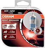 OSRAM Night Breaker Unlimited H7, Halogen-Scheinwerferlampe, +110%, 64210NBU-HCB, 12V PKW, Duo Box (2 Lampen)