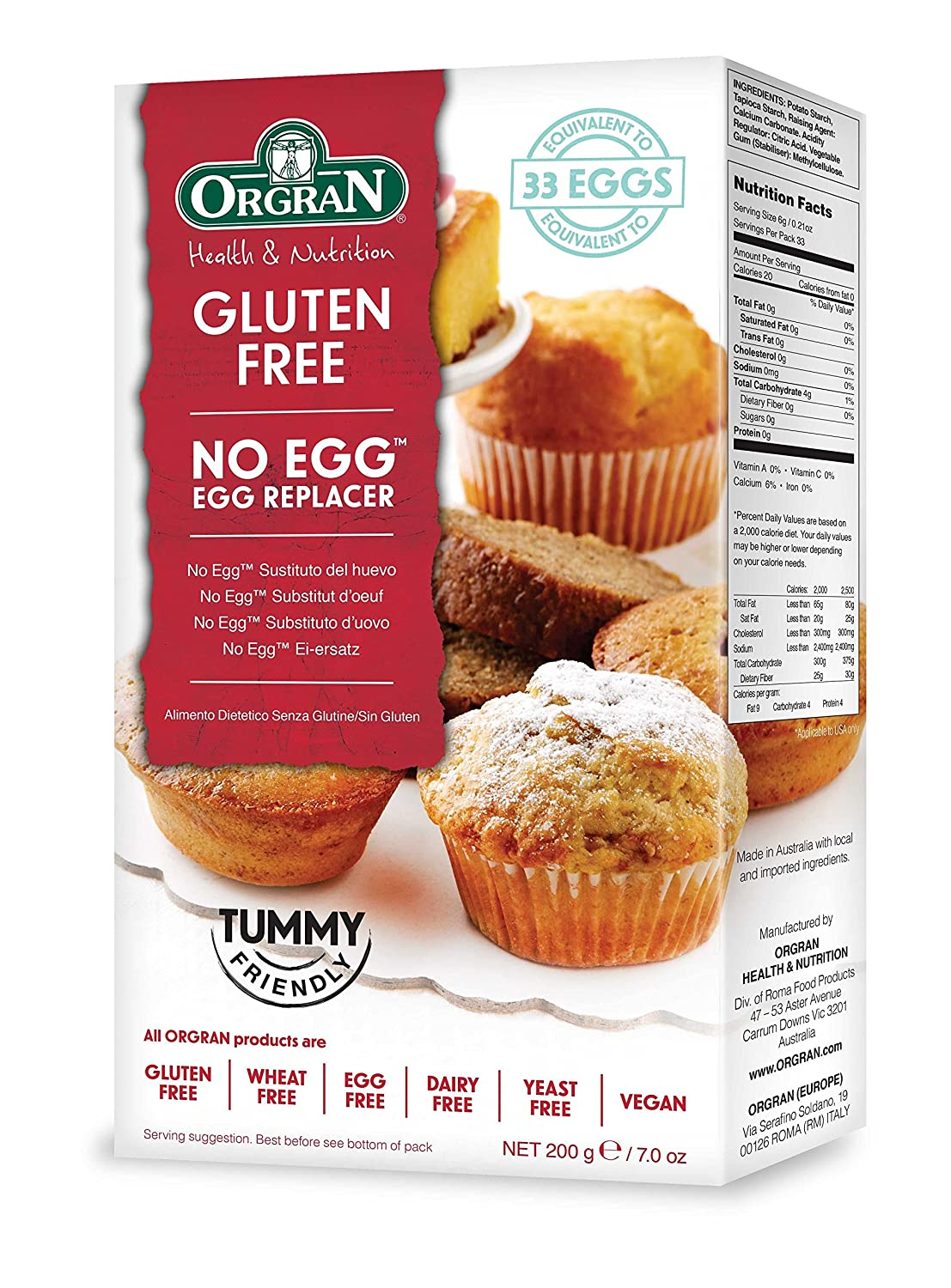 Orgran Free From No Egg - Egg Replacer Mix 200 g (Pack of 8): Amazon.es: Electrónica