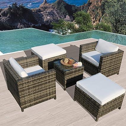 Amazon.com: Juego de muebles de patio al aire libre, 5 ...
